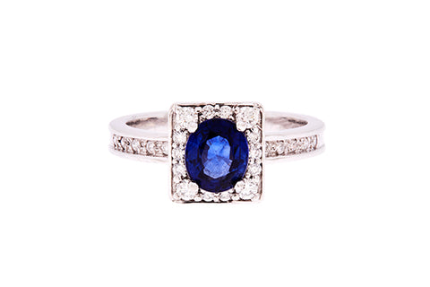 18ct Ring In White Gold With Blue Sapphire & Diamonds