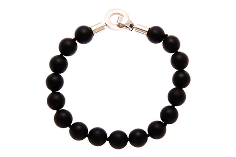 Bracelet With Satin Onyx Beads & Stainless Steel Clasp