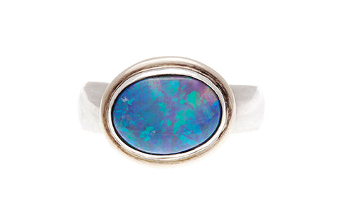 Silver & Yellow Gold Ring With Opal