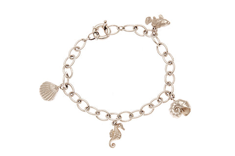 Silver Bracelet With Conch And Nautilus Shell, Clownfish And Seahorse