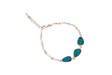 Silver Bracelet With Turquoise Doublet Opals