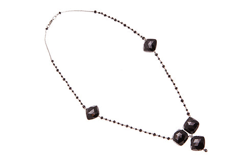 18ct Necklace In White Gold And Black Rhodium Plate With Black Spinel