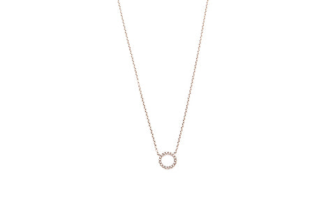 18ct Necklace In White Gold With Diamond Circle