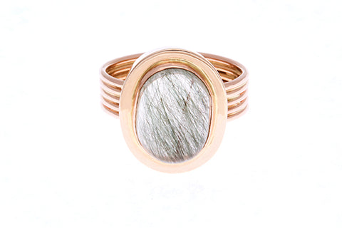 18ct Ring In Rose Gold With Green Rhutilated Quartz 6.03ct