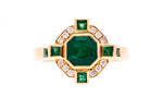 18ct Ring In Yellow Gold With Emeralds & Diamonds