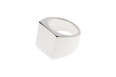 Silver Ring Large Rectangle Signet
