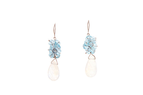18ct Earrings In White Gold With Moonstones & Aquamarines