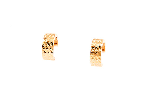 9ct Huggies in Yellow Gold With Diamond Cut Finish
