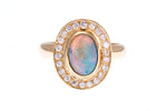 18ct Ring In Yellow Gold With Solid Australian Opal And Diamonds