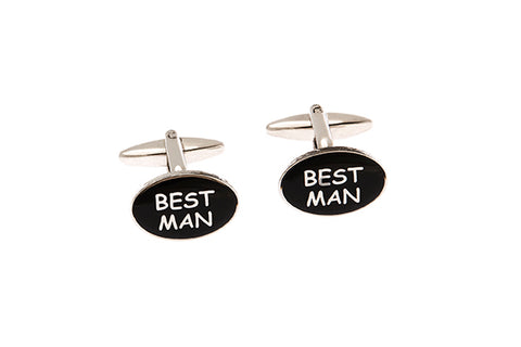 Silver Cufflinks With Best Man Motif