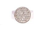 18ct Coin Ring In White Gold With Pave Diamonds