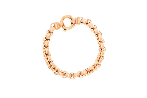 9ct Bracelet In Yellow Gold Belcher With Italian Bolt Ring