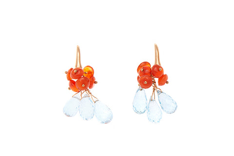 18ct Earrings In Yellow Gold With Blue Topaz & Carnelian