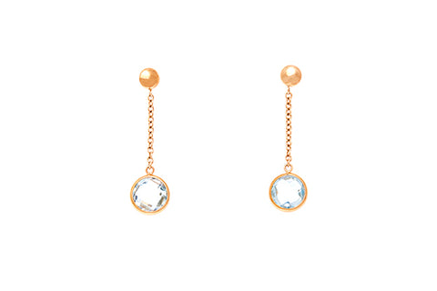 9ct Earrings In Yellow Gold With Blue Topaz Drops