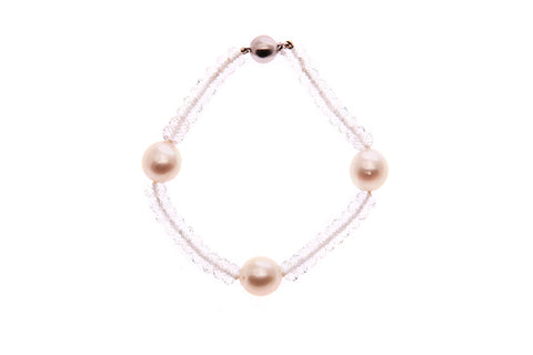 9ct Bracelet In White Gold With White Topaz & South Sea Pearls