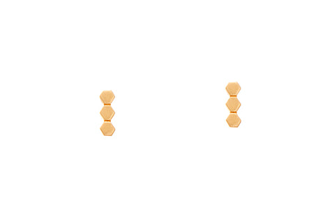 9ct Earrings In Yellow Gold With 3 Teeny Weeny Hexagonal Shapes