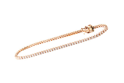 18ct Bracelet In Rose Gold With 1.89 ct Diamonds - Tennis Bracelet