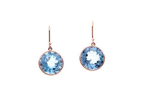 9ct Earrings In Pink Gold  With 14mm Blue Topaz in Fine Bezel Setting