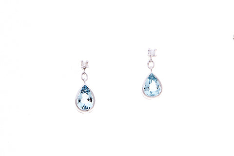 18ct Earrings In White Gold With Aquamarines & Diamonds