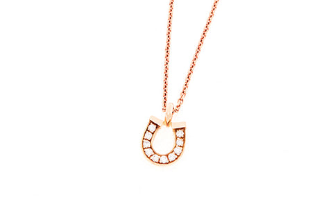 18ct Horseshoe Pendant In Rose Gold With Diamonds
