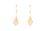 18ct Earrings In Yellow Gold With Diamonds In Deco Style