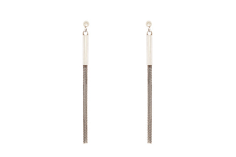 Silver Earrings With Fine Tassel Strands & Studs