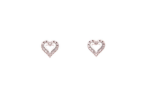 9ct Earrings In White Gold With Cubic Zirconia Hearts