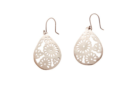 Silver Earrings With Cutout Flower Drop