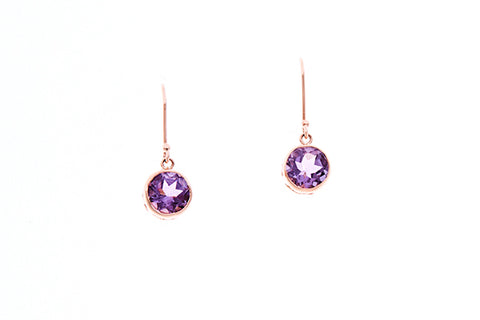 9ct Earrings in Rose Gold With Round Faceted Amethysts