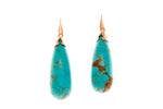 9ct Earrings In Rose Gold With Blue Turquoise