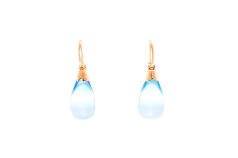 9ct Earrings In Yellow Gold With Smooth Blue Topaz Drops