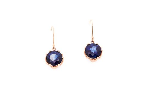 9ct Earrings In Yellow Gold With Created Blue Sapphires
