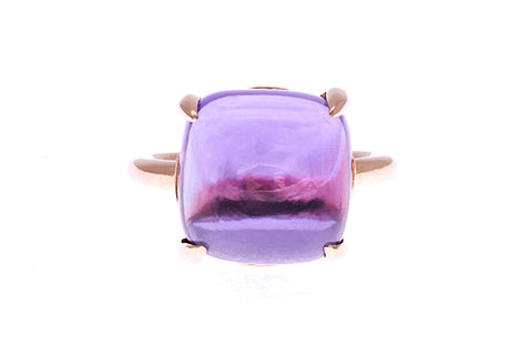 18ct Ring Rose Gold with a Square Cabochon 14mm x 14mm Amethyst