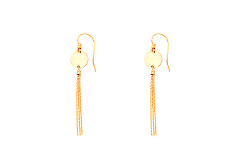 9ct Earrings In Yellow Gold With Disc & Tassel Drop