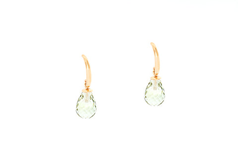 9ct Earrings In Yellow Gold With Green Quartz Drops