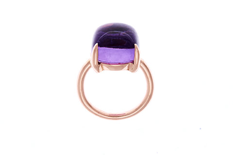 18ct Ring In Rose Gold With a Square Cabochon 14mm x 14mm Amethyst