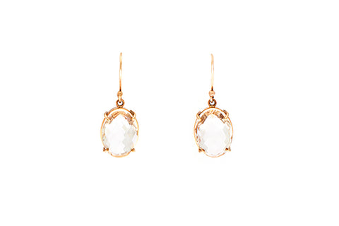 9ct Earrings In Yellow Gold With Clear Quartz