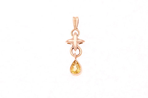 9ct Pendant In Rose Gold With Yellow Tourmaline Drop