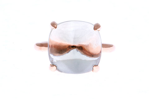 18ct Ring In Rose Gold With Cabochon Green Quartz