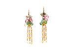 9ct Earrings in Rose Gold With Tourmaline & Opals