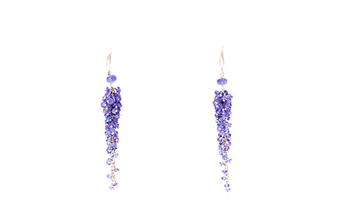 18ct Earrings In White Gold With Handwired Tanzanite Beads