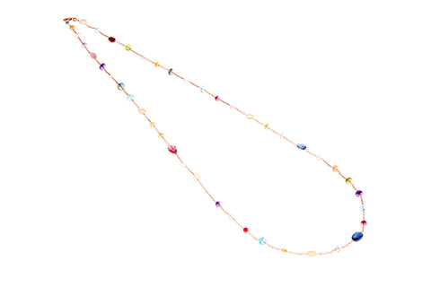 18ct Necklace In Rose Gold With Multi Coloured Gemstones - Short