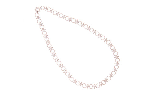 9ct Necklace In White Gold With Hugs & Kisses Links