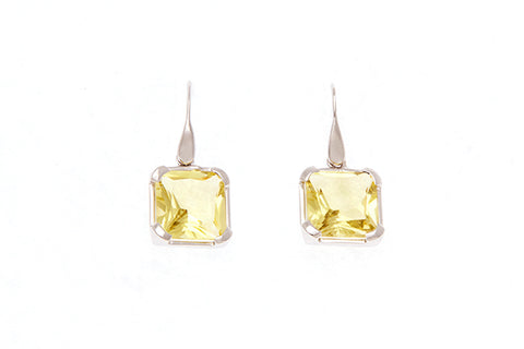 9ct Earrings In White Gold With a Lemon Quartz