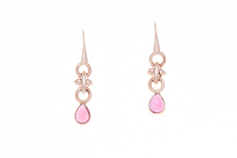 9ct earrings in rose gold with hugs and kisses links & a cabochon garnet drop