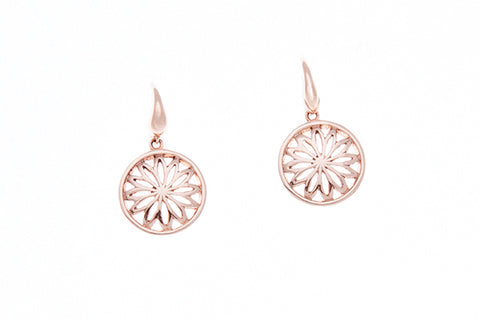 9ct Earrings In Rose Gold With Flower Design