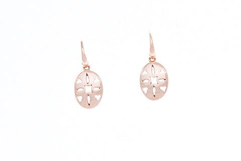 9ct Earrings in Pink Gold with pierced out oval design on shepherds hooks