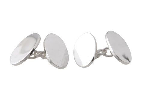 Cufflinks In Silver With Double Ovals