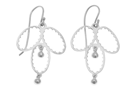 18ct Earrings In White Gold Antique Style With Beads