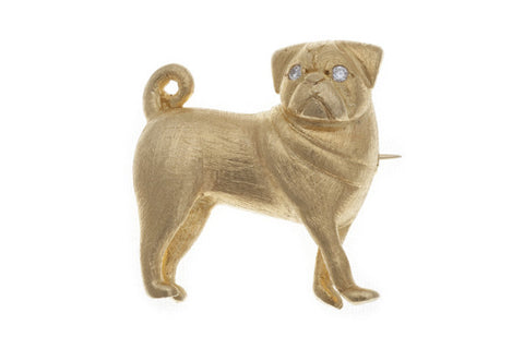 18ct Brooch In Yellow Gold, A Pug With Diamond Eyes